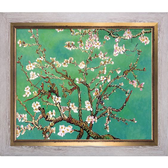 La Pastiche Original 'Branches of an Almond Tree in Blossom Jade' Hand Painted Framed Art
