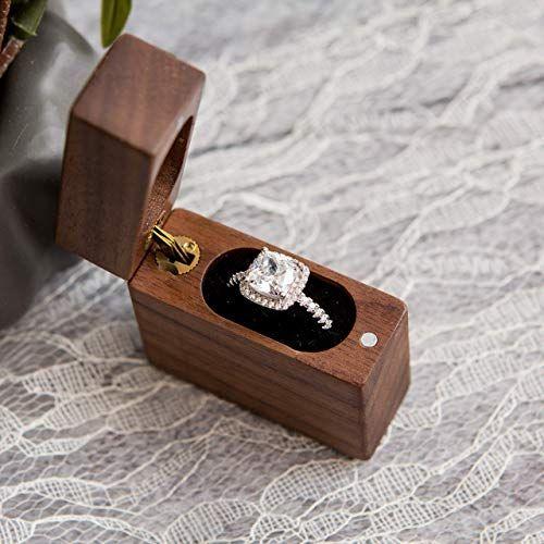 Secret Proposal Flip Ring Box – Engagement Ring Box made of Walnut Wood, Wedding Ring Box