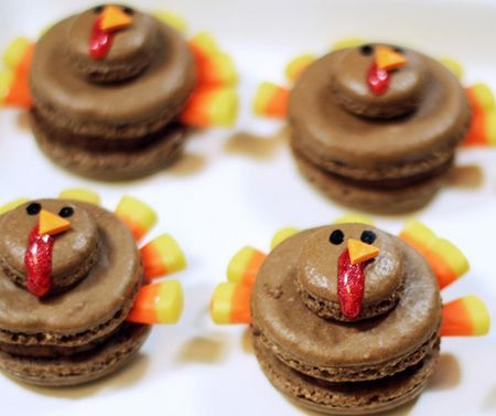 Turkey macarons  Guests will gobble up these chocolate turkey macarons.