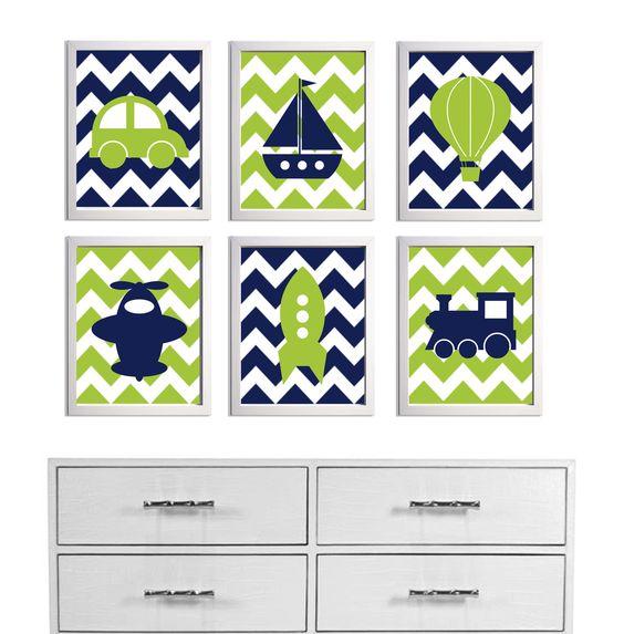 Transportation Nursery Art Chevron Navy Lime more colors available set of 6 each 8x10. $62.00, via Etsy.