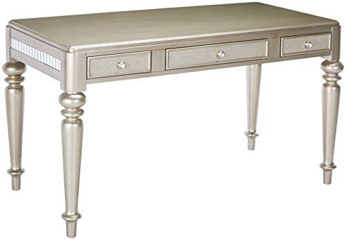 Coaster Home Furnishings Bling Game Writing Desk With Drawer Fronts Metallic Platinum Writing Desk With Drawers Desk With Drawers Home Furnishings