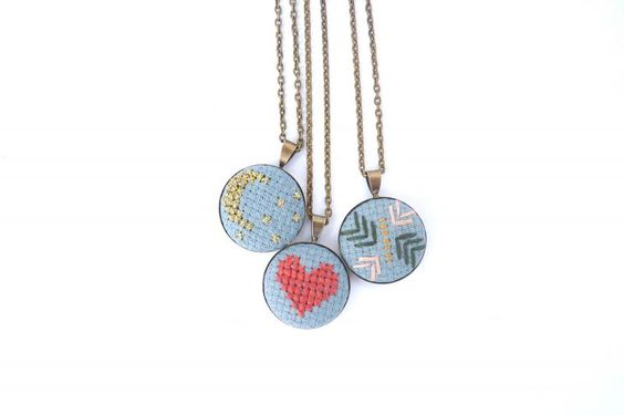 Ooh, love these embroidered necklaces by Lisa Anderson Shaffer. One of our favorite new jewelry trends.