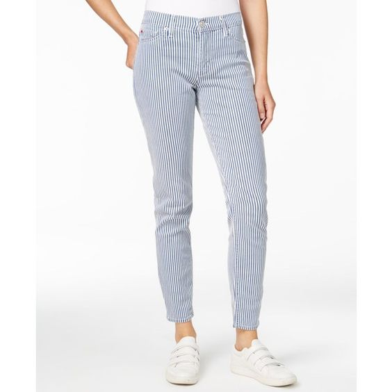 Hudson Jeans Nico Striped Sea Swell Wash Skinny Jeans (150 CAD) ❤ liked on Polyvore featuring jeans, sea swell, denim skinny jeans, stripe skinny jeans, skinny fit jeans, white jeans and stripe jeans