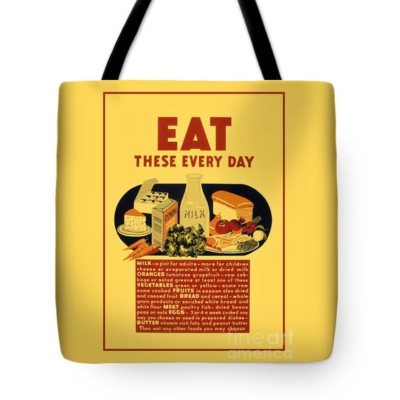 "Eat healthy food retro vintage school Tote Bag 18"" x 18"" by Aapshop"