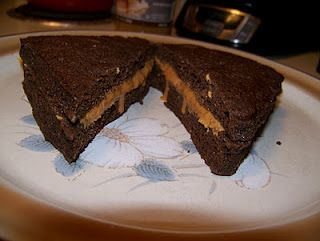 Low Carb & Gluten Free - Chocolate Peanut Butter and Caramel Sandwich.  I am definitely trying this next week for lunch!