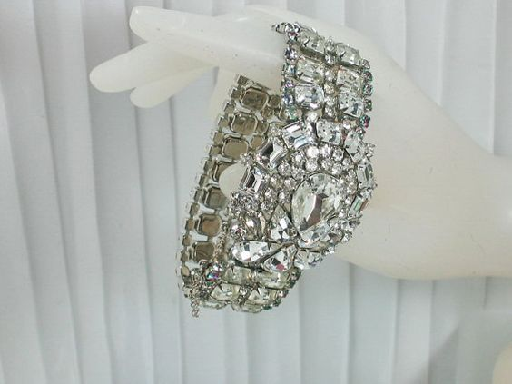 Vintage  WIDE 5 Row Rhinestone BRACELET Movie by KatcherrFancy, $174.99