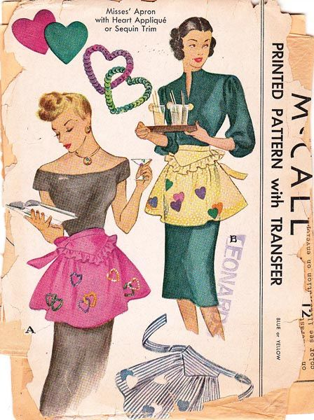 Vintage apron pattern from McCalls........I definitely don't sew but I find this picture/packaging fab; I remember seeing these patterns in the 5 & 10 when I was growing up!
