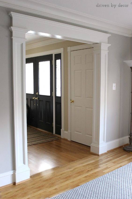 Adding beautiful casing around door openings make such a huge difference! Dining room, living room