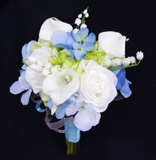 Bridal Bouquet With Calla Lilies And Hydrangeas : Wedding bouquet blue hydrangeas white roses and calla