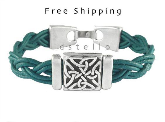 GRATIS verzending - Keltische knoop lederen armband, Keltische sieraden manchet…
