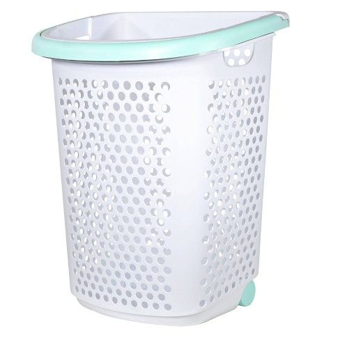 Rolling Laundry Hamper White With Turquoise Handles Room