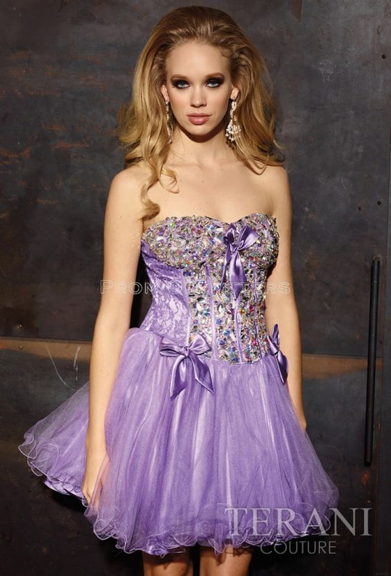 2/5/15  Brand/Designer: Terani Prom Material: Tulle Occasion: Prom Dress Shoulder: Strapless Waistline: Corset Waistline Embellishments: Bow(s) Size Category: Adult Available Colors: Coral, Lavender, White