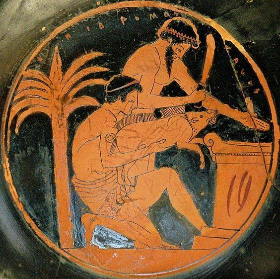 Sacrifice of a young boar in ancient Greece (tondo from an Attic red-figure cup, 510–500 BC, by the Epidromos Painter, collections of the Louvre)