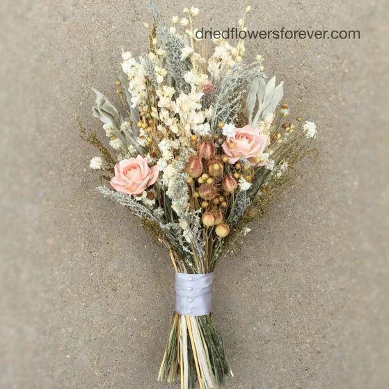 Peach Dried Flower Wedding Bouquet Preserved Natural Bridal