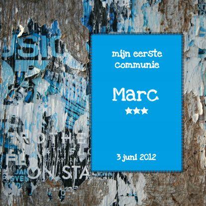 Grunge communie kaart. Ook voor feest bij verjaardag, slagen, verhuizing, jubileum of geboorte  Bestel de eerste kaart gratis!  #communie #katholiek #kaart #feest #communiefeest