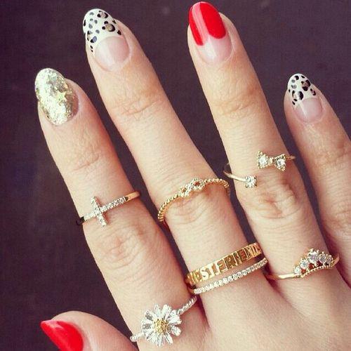 Leopard Print and Glitter Manicure