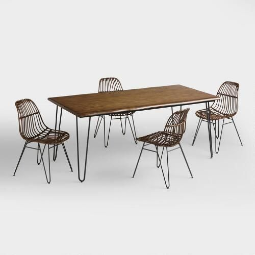 One of my favorite discoveries at WorldMarket.com: Wood Flynn Hairpin Dining Collection
