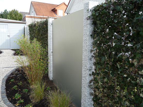 Sichtschutz mit Trespa-Patten Sichtschutzwand Pinterest - steingarten mit granit