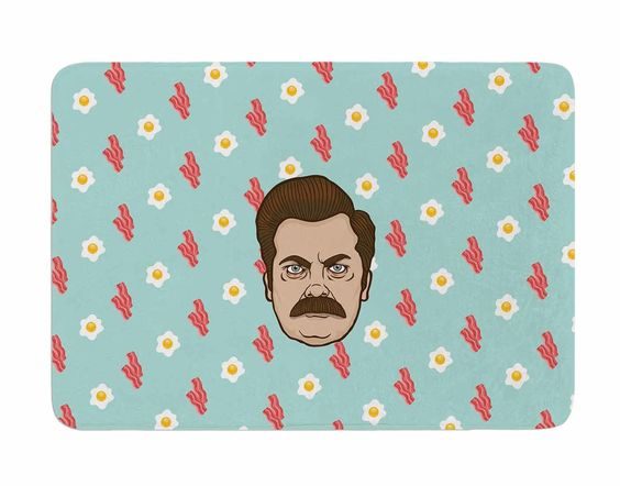 Give Me all of the Bacon and Eggs by Juan Polo Memory Foam Bath Mat