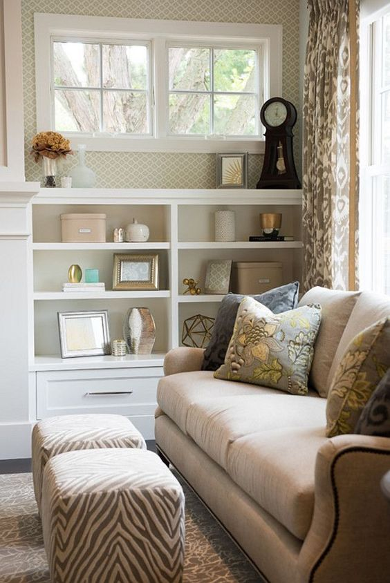 Living Room Bookshelf By Fireplace With On