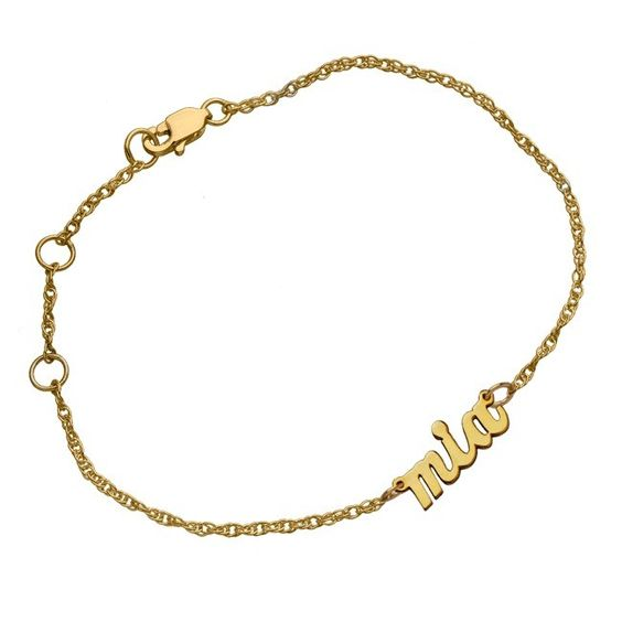 This scripted nameplate bracelet is customized just for you which means that you have to take your style very personally. Quite an intimate wrist statement if you ask us. Adjustable lobster claw closure.Script Nameplate Bracelet on an adjustable 6