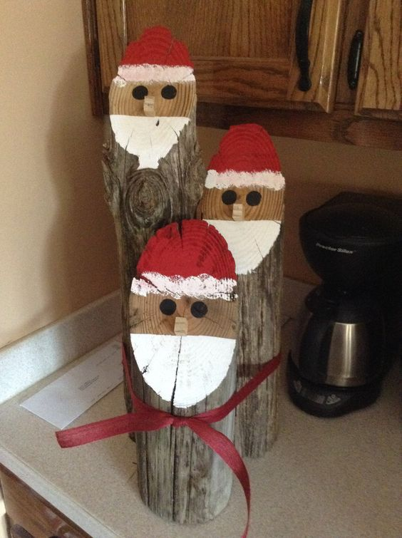 Santa log faces holidays decor and crafts pinterest for Log craft ideas