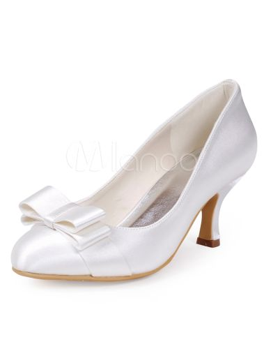 Glamour branco cetim arco redondo Toe bombas para noivas - Milanoo.com