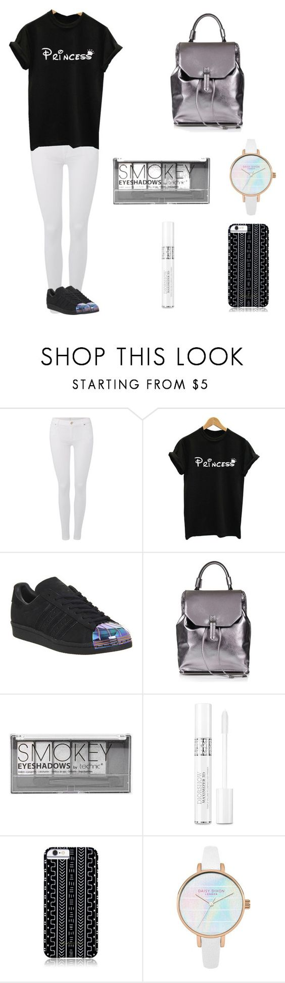 """""""Princess 👸"""" by leah3000 ❤ liked on Polyvore featuring 7 For All Mankind, adidas, Topshop, Boohoo, Christian Dior and Savannah Hayes"""