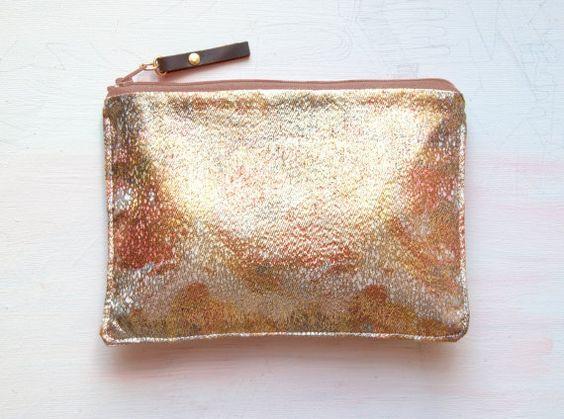 S I L K Metallic pouch Gold Metallic Clutch by GiftShopBrooklyn