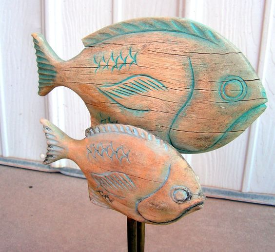 Primitive carved fish decoy rustic wood carving sculpture