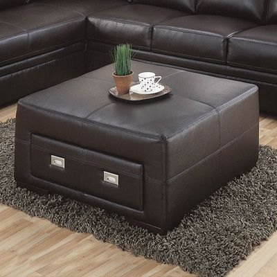 chocolate brown bonded leather storage ottoman our home some day