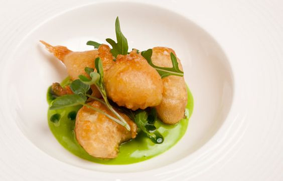 Monkfish scampi in Meantime beer batter with wild garlic mayonnaise