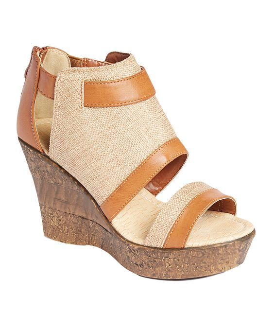 Another great find on #zulily! Herever Camel Wide-Strap Linen Wedge Sandal by Herever #zulilyfinds