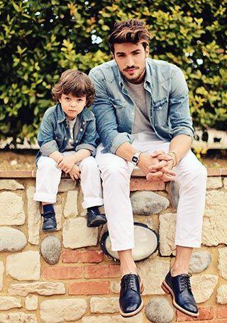 【親子ペアルック】デニムシャツ×白パンツの着こなし(メンズ) | Italy Web: