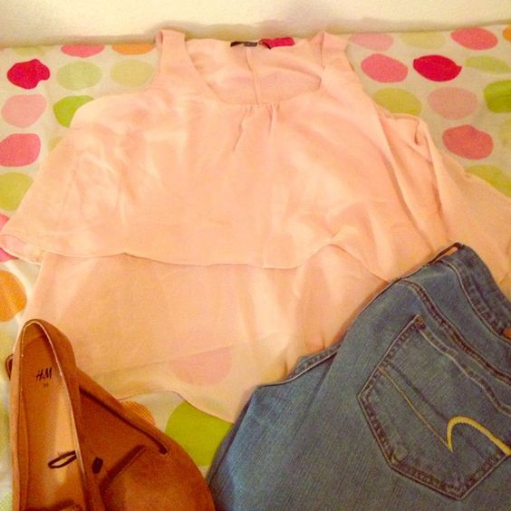 Tiered Chiffon tank. Blush pink tiered tank. Pairs great for work attire with a blazer or dress it down with jeans and flats. Forever 21 Tops Blouses