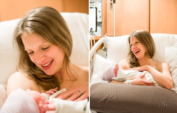 Overjoyed to meet her new son - birth session by J L Scott Photography