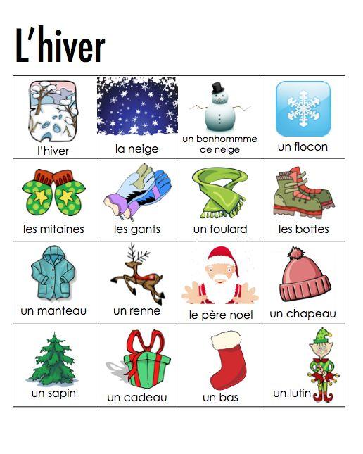 Resultado de imagen de vocabulaire de l'hiver