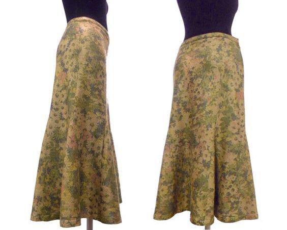 Falda de lana estampada color marrón medio. Años por MeAndTheMajor