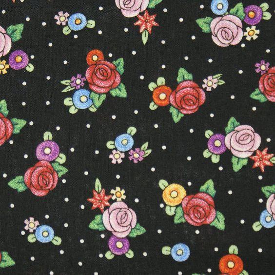 Mary Engelbreit Fabric Black Polka Dot by VtgSewingPatterns
