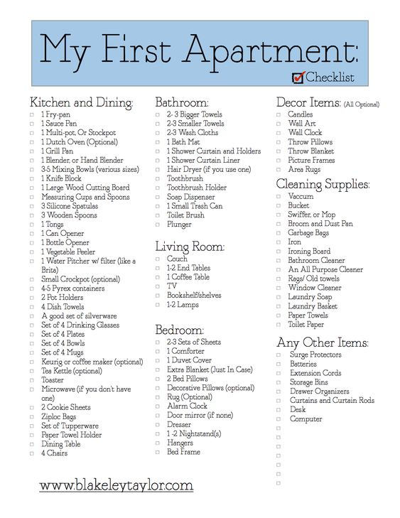 apartment checklist apartment check lists and home on pinterest. Black Bedroom Furniture Sets. Home Design Ideas
