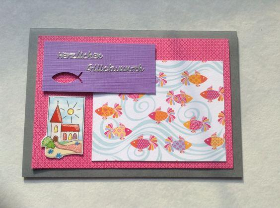 Kommunionkarte Pink