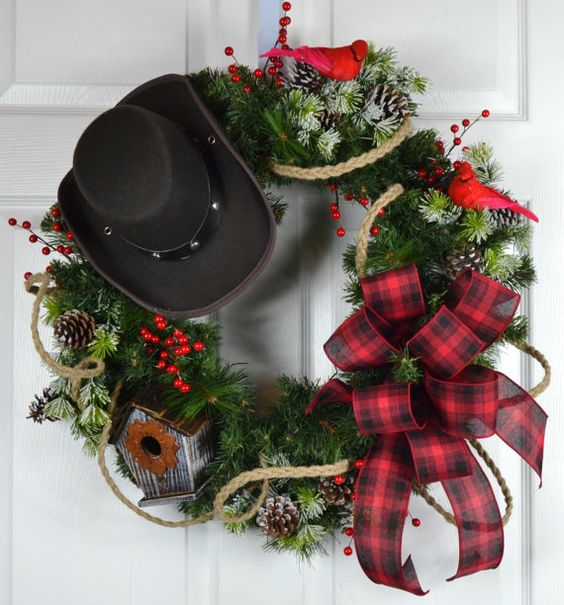 Cowboy Christmas Winter Wreath  Christmas by GaslightFloralDesign