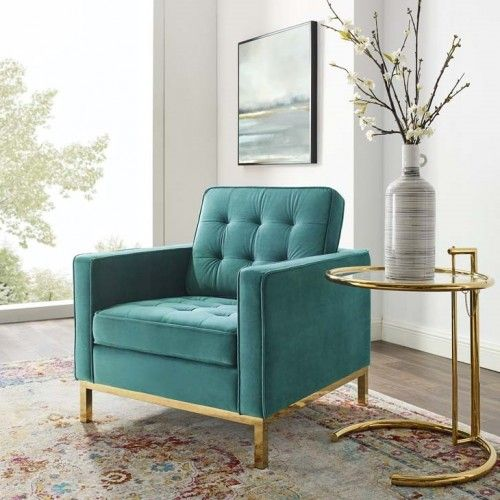 Teal Green Velvet Tufted Mid Century Modern Gold Leg Lounge Chair Luxury Lounge Furniture Living Room Chairs Modern Velvet Furniture