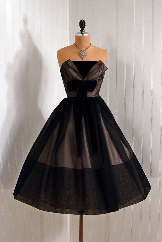 1950's Strapless Shelf-Bust Bow Black and Pink Chiffon Couture ...