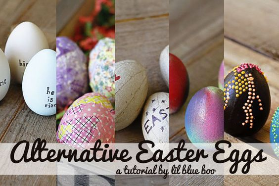 Alternative Easter Eggs (tutorial by lil blue boo): Eggs Easter, Decorating Ideas, Egg Ideas, Easter Eggs, Decoration Ideas, Alternative Easter, Easter Ideas