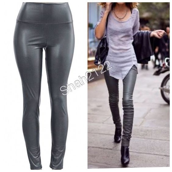 gray faux leather leggings high waist sexy fleece Boutique | Sexy ...