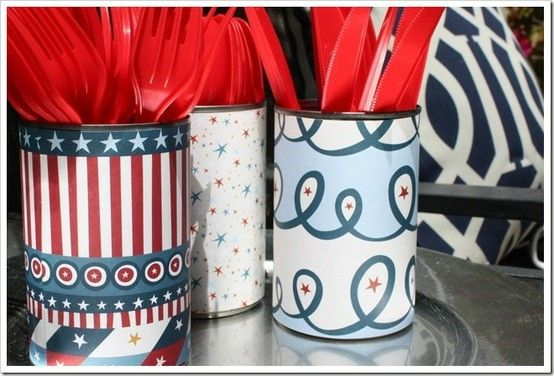 Cover cans with decorative paper