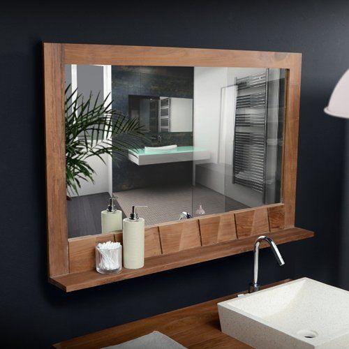 Bathroom mirror with shelf shelves and home on pinterest - Tablette bois salle de bain ...