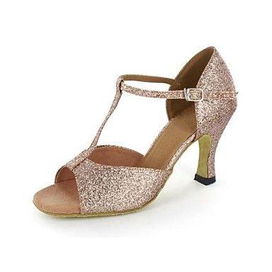De latin aangepaste vrouwen sandalen sprankelende glitter buckie dansschoenen – EUR € 33.63