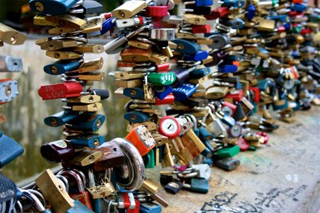 Locks of Love: Urban Padlock Monuments to Commitment ... GREAT IDEA FOR A SOCIAL JUSTICE CAMPAIGN!